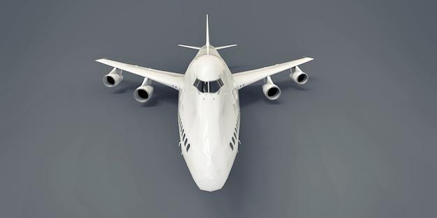 Avion de grande capacité de grande capacité pour les longs vols transatlantiques. avion blanc sur fond isolé gris. illustration 3d.