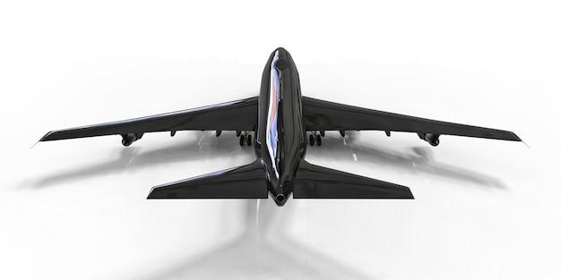 Avion de grande capacité de grande capacité pour les longs vols transatlantiques. avion noir sur fond isolé blanc. illustration 3d.
