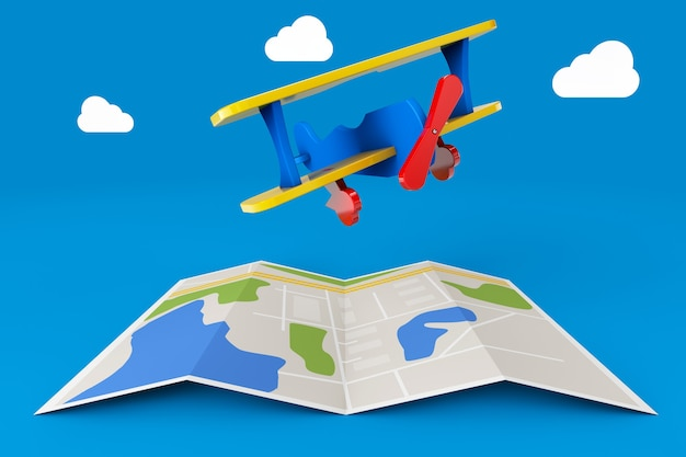 Avion jouet sur plan de la ville sur fond bleu. rendu 3d