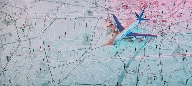 Avion et marquage de localisation avec une épingle sur les itinéraires sur la carte du monde. aventure, découverte, communication, logistique, transport et fond de concept de thème de voyage. rendu 3d et illusrration.