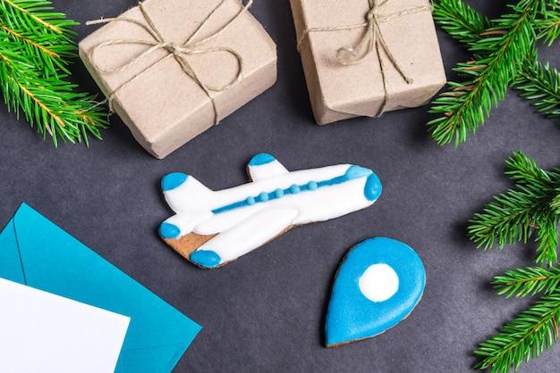 Avion en pain d'épice, concept de noël