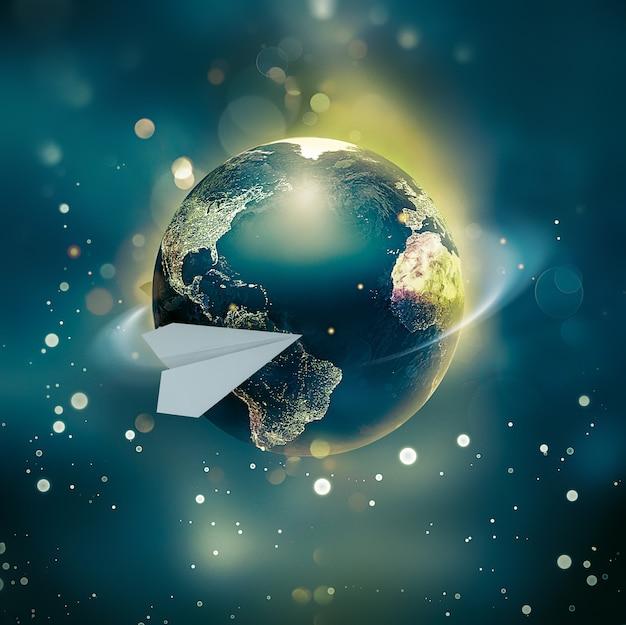 Un avion en papier fait le tour du monde. une image conceptuelle d'un voyage autour du monde. matériaux de la nasa utilisés pour créer l'effet du monde brillant. image 3d.