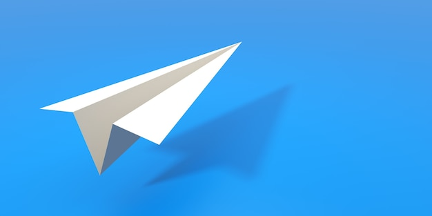 Avion en papier avec fond bleu. illustration 3d.