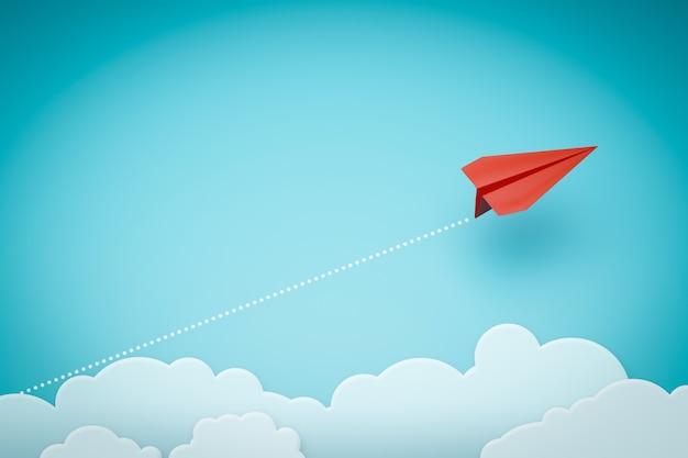 Un avion en papier rouge pointant de manière différente sur fond bleu.