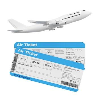 Avion de passagers jet blanc avec billets d'embarquement de la compagnie aérienne sur un fond blanc. rendu 3d