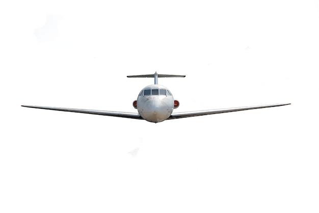 Avion de passagers yak40 sur un fond blanc propre avec un détourage photographié de l'avant