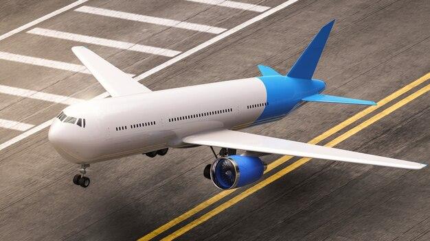 Avion de rendu 3d au décollage