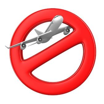 Avion et signe interdit sur l'espace blanc