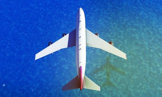 Avion survolant la mer. rendu 3d