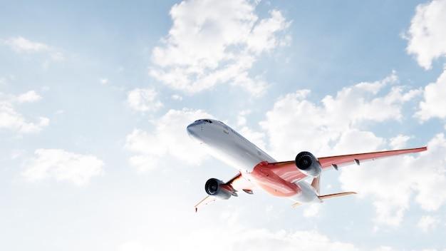 Avion volant sur ciel bleu.