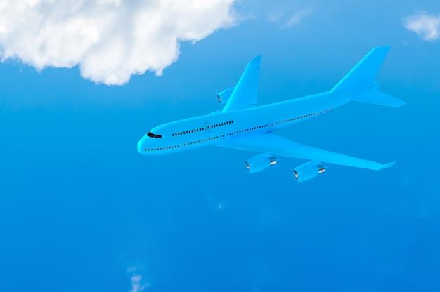 Avion volant couleur bleu maquette sur ciel bleu