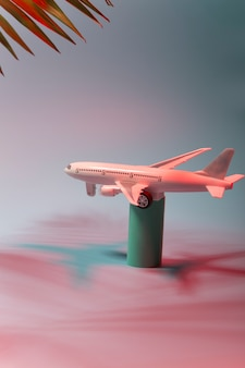 Un avion volant dans un fond néon
