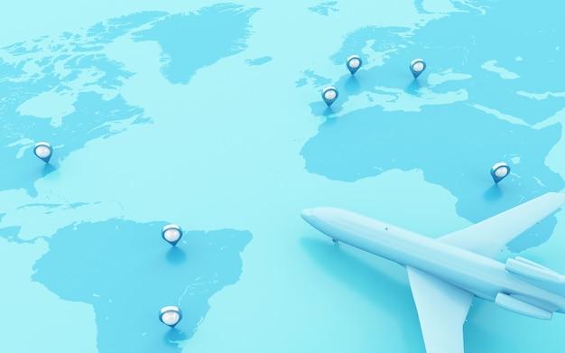 Avions 3d volant autour du globe avec un pointeur de carte.
