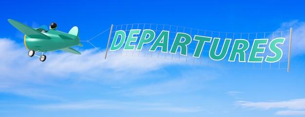 Avions de dessin animé avec bannière de départs. rendu 3d