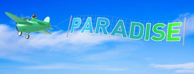 Avions de dessin animé avec la bannière du paradis. rendu 3d
