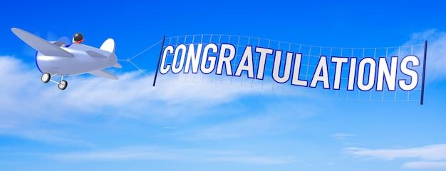 Avions de dessin animé avec bannière de félicitations. rendu 3d