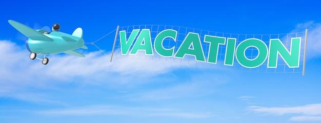 Avions de dessin animé avec bannière de vacances. rendu 3d
