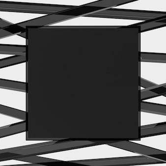 Avis de rendu 3d ou arrière-plan du babillard avec des bâtons acryliques noirs transparents