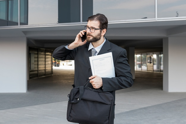 Avocat, parler, porte-documents