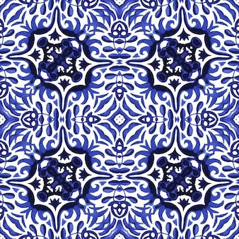 Azulejo bleu et blanc dessiné à la main aquarelle transparente motif de peinture aquarelle ornementale.