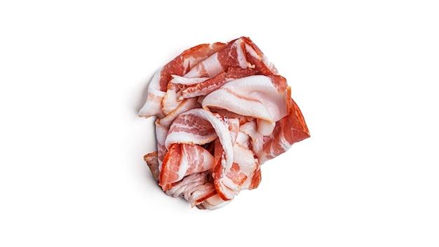 Bacon sur fond blanc. photo de haute qualité