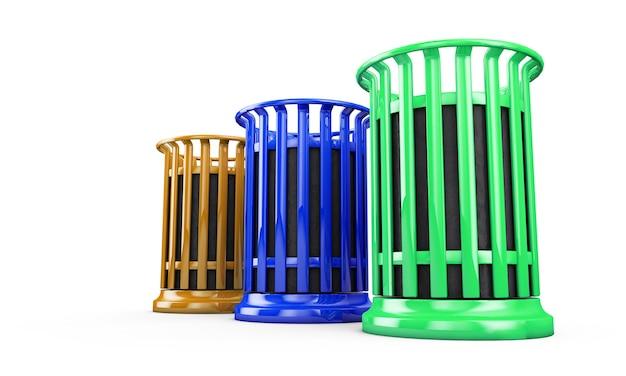 Bacs de recyclage colorés isolés sur fond blanc rendu 3d
