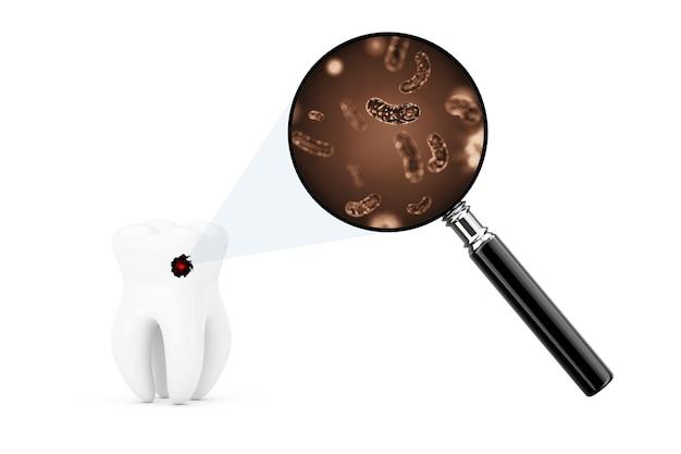 Bactéries et virus sur une dent vu à travers une loupe sur un fond blanc. rendu 3d.