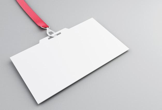 Badge d'identification en plastique blanc 3d avec lanière