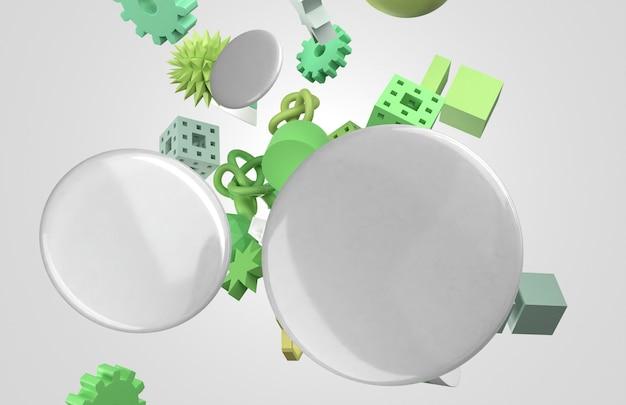 Badges 3d blancs vierges et formes géométriques volantes