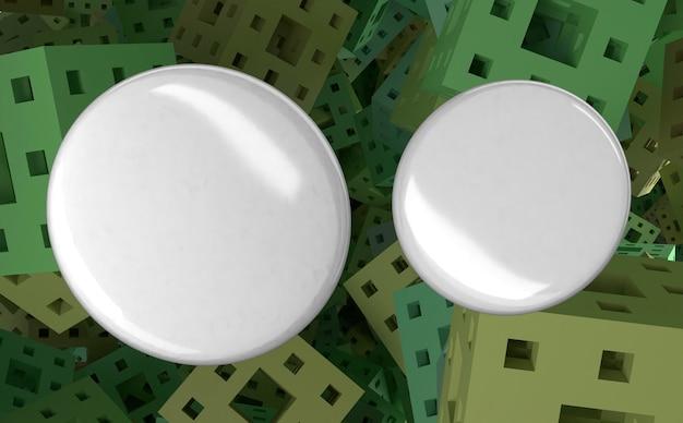 Badges blancs vierges avec des carrés en arrière-plan