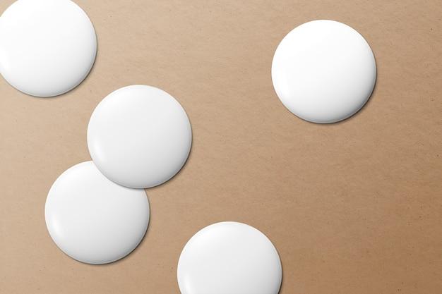 Badges à épingles blanches, ensemble de conception vierge