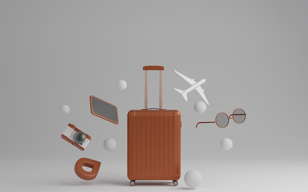 Bagages avec avion, lunettes de soleil et appareil photo sur concept de voyage fond gris. rendu 3d.