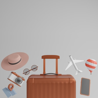 Bagages avec avion, lunettes de soleil, chapeau, ballon et appareil photo