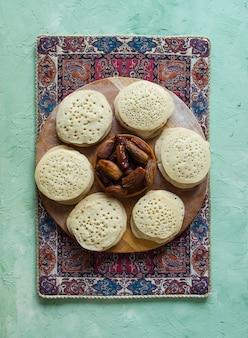 Baghrir crêpes marocaines. vue de dessus.
