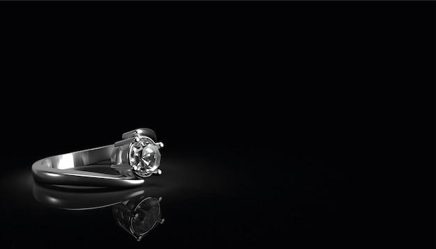 Bague en diamant sur fond noir, rendu 3d