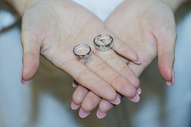 Bague de mariage sur la main de la mariée