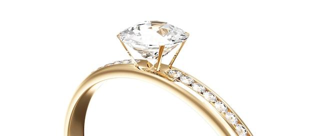 Bague de mariage en or avec diamants sur fond blanc