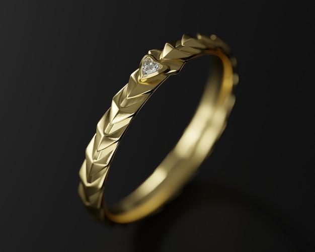 Bague en or diamant isolé sur fond noir rendu 3d