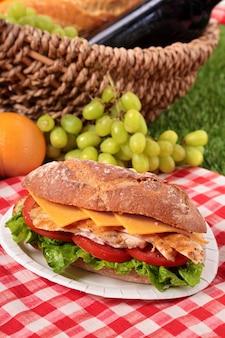 Baguette délicieux avec le poulet et le fromage