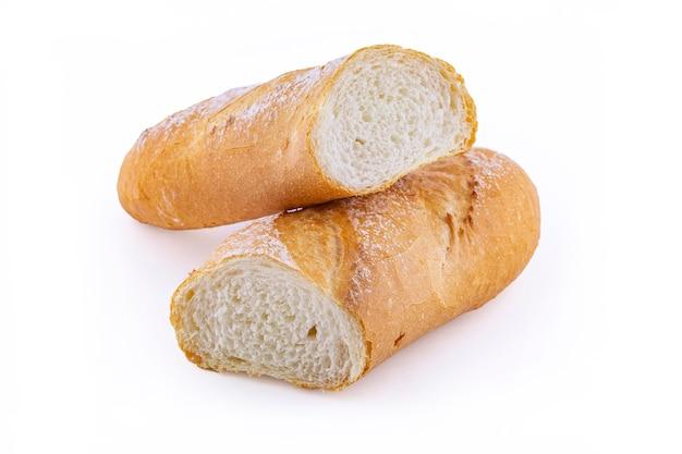 Baguette de pain italien isolé sur blanc