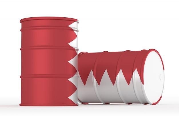 Bahreïn barils de drapeau de style huile isolés