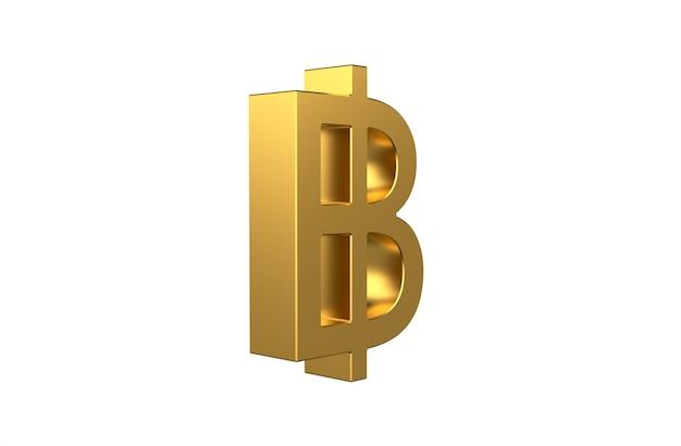 Baht de symbole monétaire thaïlandais en 3d