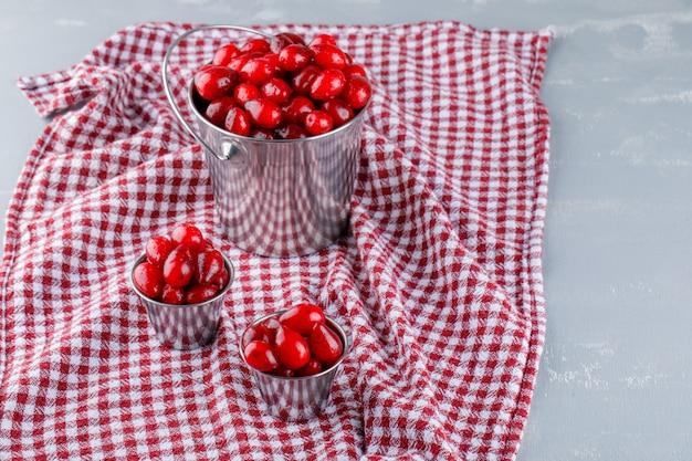 Baies de cornouiller dans des seaux sur plâtre et tissu de pique-nique, vue grand angle.