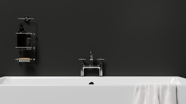 Baignoire de luxe en gros plan dans une salle de bains moderne et élégante avec mur noir, accessoires de bain. intérieur de salle de bain élégant, relaxation, rendu 3d, illustration 3d