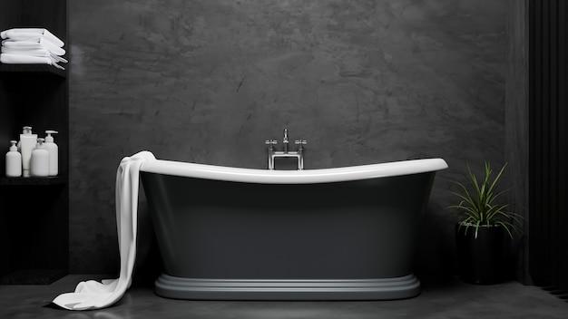 Baignoire moderne et élégante dans le rendu 3d du mur intérieur de loft de salle de bains de luxe noir
