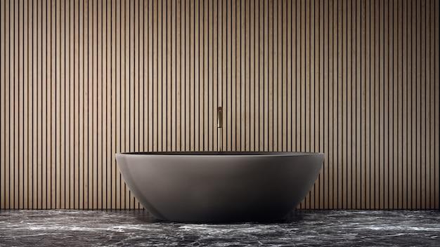 Baignoire sur sol en marbre noir de grande salle de bains dans une maison moderne ou une villa de luxe