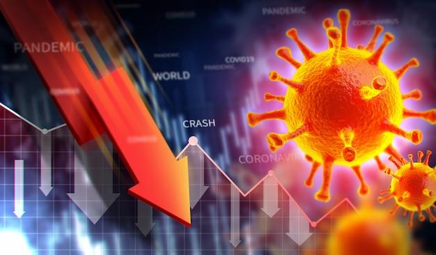Baisse du marché boursier avec une épidémie de coronavirus