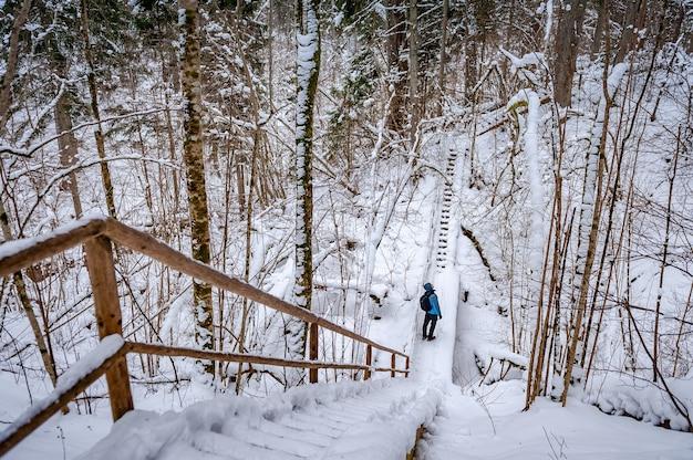 Balades touristiques sur le chemin en bois forêt couverte de neige activité de plein air lettonie baltique