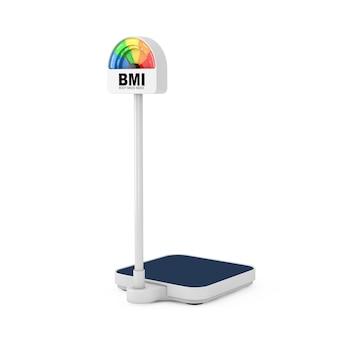 Balance médicale au sol pour le contrôle du poids avec imc ou échelle de l'indice de masse corporelle, jauge à cadran sur fond blanc. rendu 3d