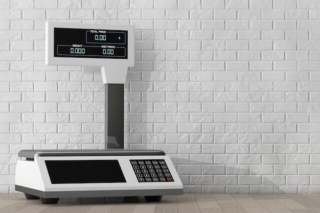 Balances électroniques pour peser les aliments devant le mur de briques. rendu 3d